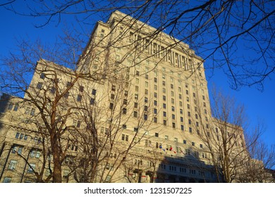 MONTREAL QUEBEC CANADA 01 06 2017: Sunlife building in Montreal canada. The Sun Life Building is an historic office building at 1155 Metcalfe Street.
