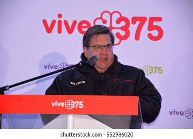 MONTREAL QUEBEC CANADA 01 06 17: Denis Coderre mayor of Montreal at the kick off of 375 anniversary of Montreal city celebrations in 2017 in collaboration with public and private partners.