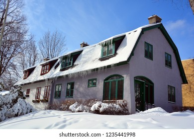 MONTREAL QUEBEC CANADA 02 04 2017: Typical canadian house design has long needed to be adapted to Canada's climate and geography, and at times has also reflected the uniqueness of Canadian culture.