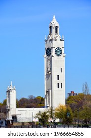 MONTREAL QUEBEC CANADA 04 22 2021:  Montreal Clock Tower, also known as the Sailor`s Memorial Clock and Tour de l'Horlodge in French, is located in the borough of Ville-Marie and is situated in the Ol