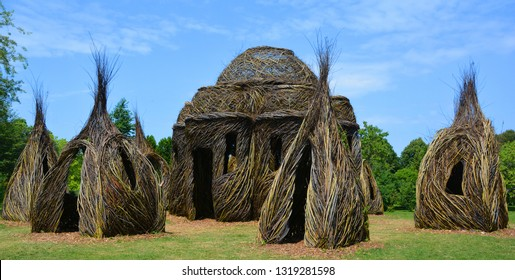 MONTREAL QUEBEC CANADA 05 15 2018:  Internationally renowned land artist Patrick Dougherty has been invited to create monumental and inspiring land art pieces in the Botanical Garden Arboretum.