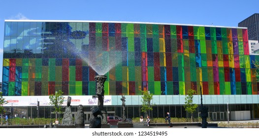 MONTREAL QUEBEC CANADA 05 19 15: The Palais des congres de Montreal is a convention centre located in the Quartier international de Montreal at the north end of Old Montreal borough of Ville-Marie.