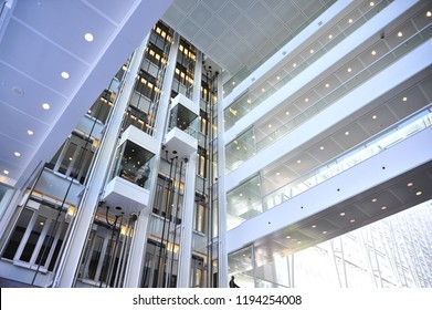 Montreal, Quebec/ Canada- 06/14/2016: A bank of elevators inside an office building.