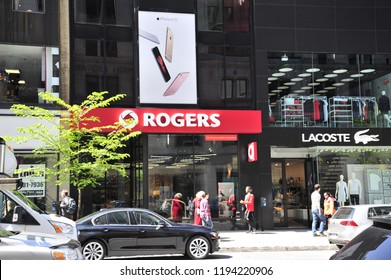 Montreal, Quebec/ Canada- 06/14/2016: A Rogers retail store along the busy shopping street of Rue Saint Catherine.