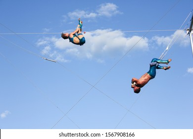 Montreal, Quebec, Canada- 07-09-2012: Trapezists show in the old port of Montreal