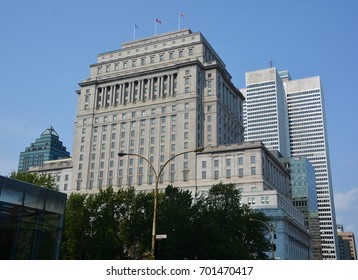 MONTREAL QUEBEC CANADA 08 17 2017: Sunlife building in Montreal canada.The Sun Life Building is an historic office building at 1155 Metcalfe Street. Place ville Marie in background.