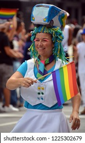 MONTREAL QUEBEC CANADA 08 18 2016: Participant at the Community Day for Montreal Pride celebrations festival. This event has a mandate to involve, educate and entertain