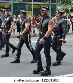 MONTREAL QUEBEC CANADA 08 18 2016: Participant as Mister leather at the Community Day for Montreal Pride celebrations festival. This event has a mandate to involve, educate and entertain