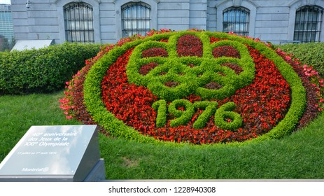 MONTREAL QUEBEC CANADA 08 22 16: Flower bed for the 40th aniversary of the 1976 Montreal olympic game