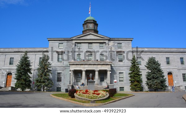 MONTREAL QUEBEC CANADA 10 04 16: Campus McGill University is an English-language public research university.  It was officially founded by royal charter issued by King George IV in 1821.