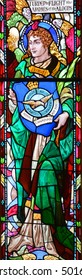 MONTREAL QUEBEC CANADA 10 20 2016: Stained glass window of St. George's Anglican Church is named for Saint George, the patron saint of England was designated National Historic Site of Canada in 1990