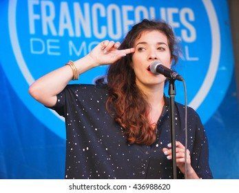 Montreal Quebec Canada - 14 June 2016 French singer Luciole sings in concert at Festival Francofolies