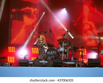 Montreal Quebec Canada - 14 June 2016 Francofolie music festival Alexe Gaudreault in concert on stage with projection screen and lighting
