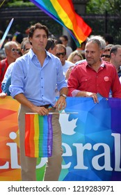 MONTREAL QUEBEC CANADA 15 AUGUST 2014: Justin Trudeau during the Montreal gay pride. Justin Pierre James Trudeau MP is a Canadian politician and the leader of the Liberal Party of Canada