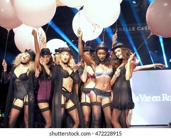Montreal Quebec Canada 18 August 2016 Lingerie fashion beauties Festival Mode & Design models show the seduction pleasure of sheer fabric sexy chic silk lace La Vie en Rose women underwear .