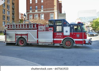 MONTREAL, QUEBEC, CANADA - 18 MAY 2017: Fire engine in Montreal Canada. Service de securite incendie de Montreal the SIM is the 7th largest fire department in North America.
