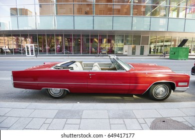MONTREAL, QUEBEC, CANADA - 18 MAY 2017: Side view of a Cadillac Eldorado american retro car in the streets of Montreal, Canada.