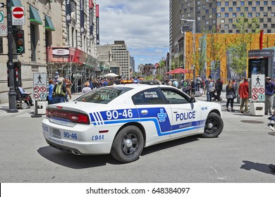 MONTREAL, QUEBEC, CANADA - 19 MAY 2017: Security police car parked in  Montreal streets during 375th birthday bash