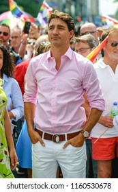 Montreal, Quebec / Canada, 2018-08-19 : Canada's Prime Minister Justin Trudeau leading Montreal's Pride (Fierté) 2018