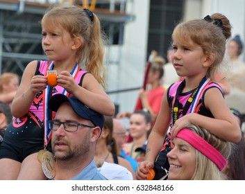 MONTREAL QUEBEC CANADA 23 07 16: Unidentified children at theTwins parade at the just for laughs festival. parade where hundreds of sets of twins, triplets and quadruplets