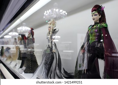 Montreal, Quebec / Canada - 7 April 2019: collectible Barbie dolls at Cours Mont Royal, Barbie Expo exhibition in downtown.