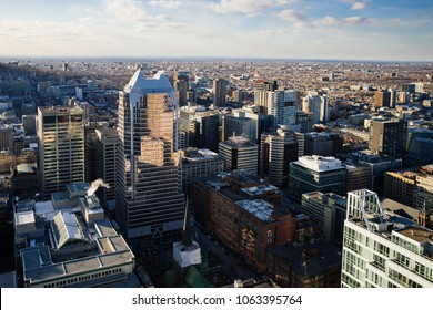 Montreal, Quebec / Canada - April 5, 2018: A late afternoon view of downtown Montreal, Quebec looking north on a cold spring day.