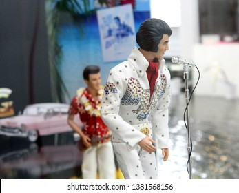 Montreal, Quebec / Canada - April 7 2019: Elvis Presley doll miniature impersonators from the manufacturer of Barbie and Ken at Barbie Expo at Les Cours Mont Royal, a luxury shopping mall downtown.