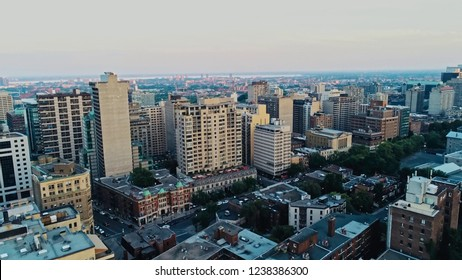 Montreal, Quebec / Canada - AUG 1 2018 : Aerial image of Montreal during a hazy summer day