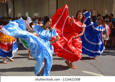 MONTREAL QUEBEC CANADA AUGUST 01 2015: Woman dancer colorful El Salvador Folklore Dance that aspect of life in Latin America.