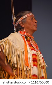 MONTREAL QUEBEC CANADA AUGUST 01 2015: Native Indian front  Mohawk people in traditional costume are the most easterly tribe of the Iroquois Confederacy.