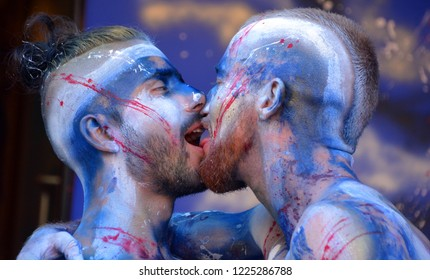 MONTREAL QUEBEC CANADA AUGUST 15 2016: Men participating at the street body painting during the gay pride week