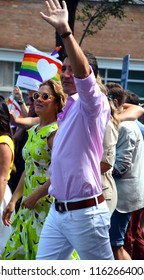 MONTREAL QUEBEC CANADA AUGUST 19 2018: Justin Trudeau during the Montreal gay pride. Justin Pierre James Trudeau MP is a Canadian politician and the leader of the Liberal Party of Canada