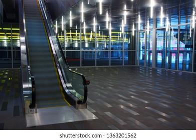 Montreal, Quebec, Canada - December 5, 2004: Montreal Palais des Congres escalator