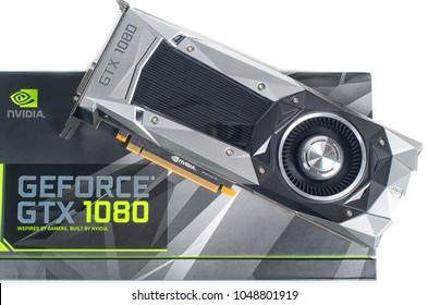 MONTREAL, QUEBEC, CANADA - JANUARY 22,2018: Box of  NVIDIA GEFORCE GTX 1080 Founder Edition and its card. NVIDIA is the leading company in the graphics processing units in the world.