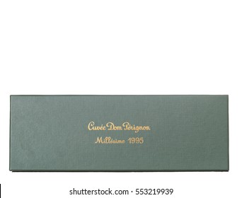 MONTREAL, QUEBEC, CANADA - JANUARY 8,2017: Side of a green box of Dom Perignon champagne vintage 1995 isolated on white background.