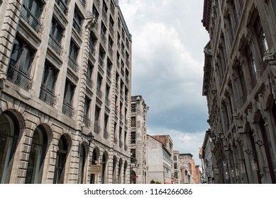 Montreal, Quebec, Canada - July 10, 2018:  Architecture looking east down Saint Paul Street West toward Marie-Morin Street in Old Montreal.