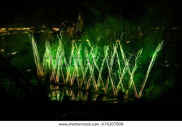 """MONTREAL, QUEBEC, CANADA - JULY 16 2016: Fireworks for the annual summer festival """"Les Feux Loto Quebec"""" from the park La Ronde in Montreal, Quebec, Canada"""