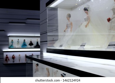 Montreal, Quebec / Canada - July 19 2019: beautiful dolls at Barbie Expo, downtown Montreal at the luxe Cours Mont Royal mall. Collectible toys are dressed in expensive wedding gowns.