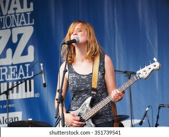 Montreal Quebec Canada - July 2 2014 - Katy Guillen & The Girls from Kansas City USA bass guitarist Claire Adams on stage closeup at Jazz International Festival