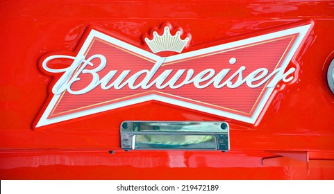 MONTREAL QUEBEC CANADA JULY 28:  Budweiser beers sign. From Anheuser-Busch InBev, Budweiser is the number selling one domestic beer in the United States