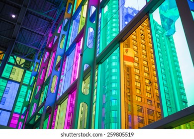 - Montreal Quebec, Canada. July 28th 2014. Palais des Congres de Montreal Indoor details of the beautiful glass color coloring the stair set of the West portion.