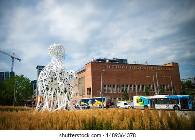 Montreal Quebec, Canada. July 31, 2019.  Metal urban  sculpture made by Jaume Piensa for the 375th anniversary of Montreal.