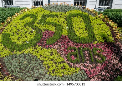 Montreal, Quebec, Canada- June 11, 2017:  Sculpted gardens in the City Hall during the celebrations for the 375 anniversary of the city