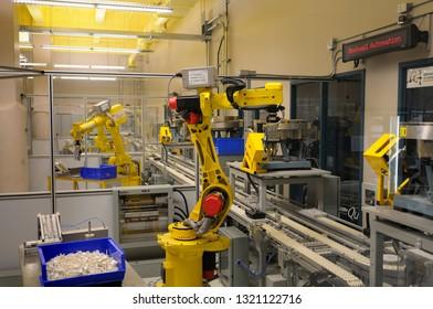 Montreal, Quebec, Canada - June 15, 2008: Assembly line robots at Ecole de Technologie Superieure Montreal