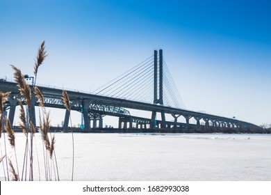 Montreal, Quebec, Canada, March 2020 -  View of the new Bridge Samuel de Champlain from South Shore