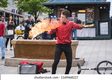 MONTREAL, QUEBEC, CANADA - MAY 20, 2018: street performers montreal in Montreal