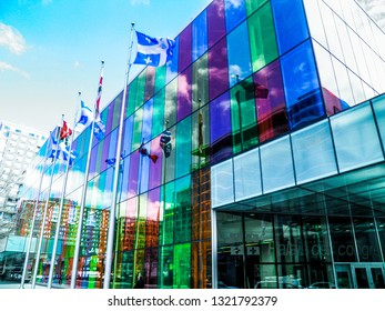 Montreal, Quebec / Canada - May 2016:  The Palais des congres de Montréal is a convention centre in Montreal's Quartier international at the north end of Old Montreal