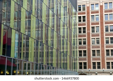 Montreal, Quebec, Canada - May 23, 2019: Modern and traditional architecture