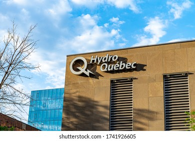 Montreal Quebec Canada May 26 2020: Hydro Quebec building with name and symbol on sign  in downtown Montreal