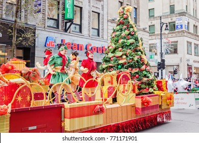 Montreal, Quebec, Canada - November 18, 2017:  67th edition of the Santa Claus Parade Destination Centre-ville (Defile du Pere Noel) along Saint Catherine Street.